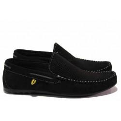 Анатомични мъжки мокасини от естествен набук МИ 506 черен | Мъжки ежедневни обувки | MES.BG