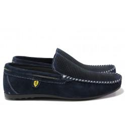 Анатомични мъжки мокасини от естествен набук МИ 506 син | Мъжки ежедневни обувки | MES.BG