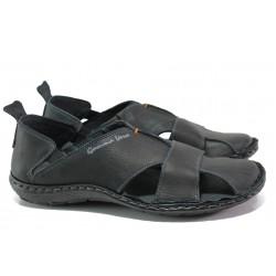 Български ортопедични сандали от естествена кожа МЙ 71189 черен | Мъжки сандали | MES.BG