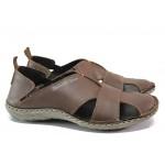 Български ортопедични сандали от естествена кожа МЙ 71189 кафяв | Мъжки сандали | MES.BG