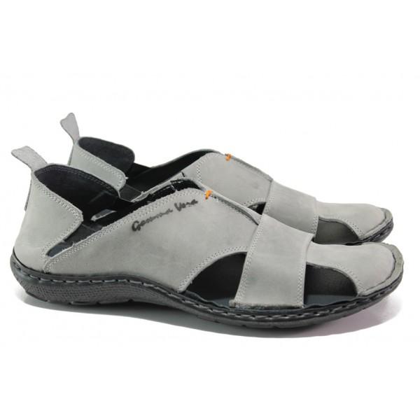 Български ортопедични сандали от естествена кожа МЙ 71189 сив | Мъжки сандали | MES.BG