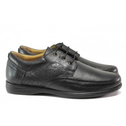 Анатомични обувки от естествена кожа МИ 23-15 черен | Мъжки ежедневни обувки | MES.BG