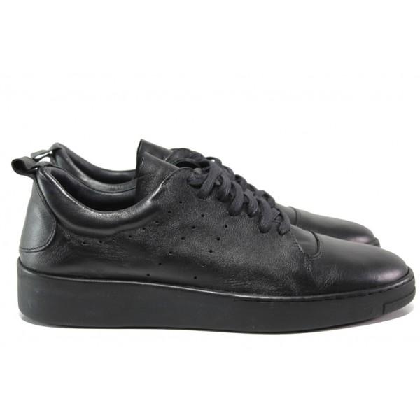 Анатомични обувки от естествена кожа МИ 1133 черен | Мъжки ежедневни обувки | MES.BG