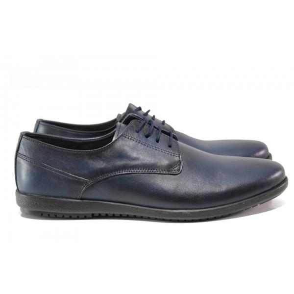 Анатомични обувки от естествена кожа ЛД 177 син | Мъжки ежедневни обувки | MES.BG