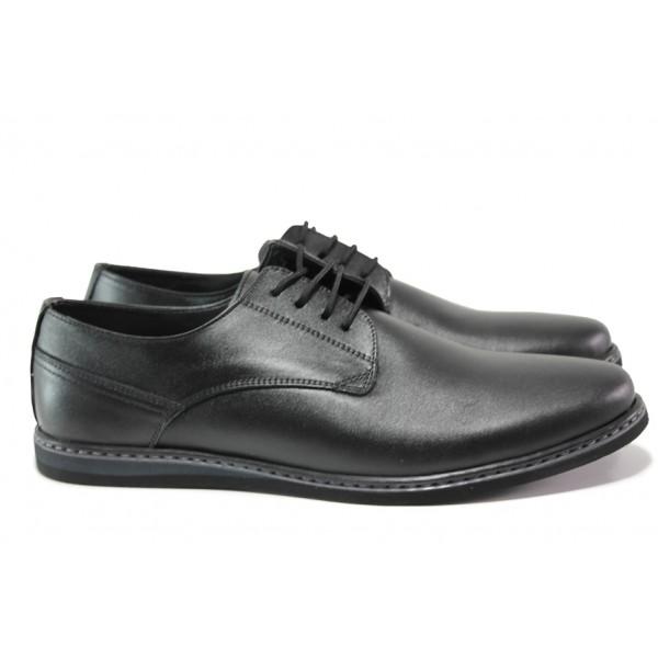 Анатомични обувки от естествена кожа ЛД 177 черен   Мъжки ежедневни обувки   MES.BG
