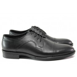 Анатомични елегантни обувки от естествена кожа МИ 5112 черен | Мъжки официални обувки | MES.BG