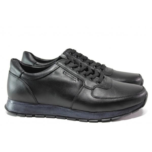 Комфортни мъжки обувки от естествена кожа ЛД 90 черен | Мъжки ежедневни обувки | MES.BG