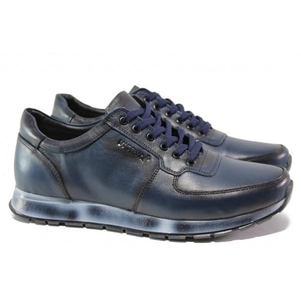 Комфортни мъжки обувки от естествена кожа ЛД 90 син | Мъжки ежедневни обувки | MES.BG