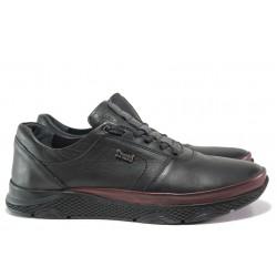 Мъжки ортопедични обувки от естествена кожа МИ 1314 черен-бордо | Мъжки ежедневни обувки | MES.BG