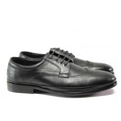 Анатомични мъжки обувки от естествена кожа МИ 1003 черен гигант | Елегантни мъжки обувки | MES.BG