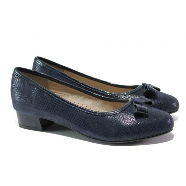 Дамски обувки от естествена кожа Jana 8-22290-22H т.син | Немски обувки на среден ток | MES.BG