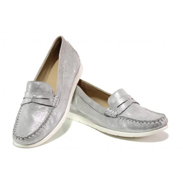 Дамски мокасини от естествена кожа Caprice 9-24251-22 сребро | Немски равни обувки | MES.BG