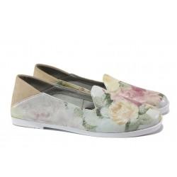 Дамски еспадрили от естествена еленска кожа Caprice 9-24215-22G бежов цветя | Немски равни обувки | MES.BG