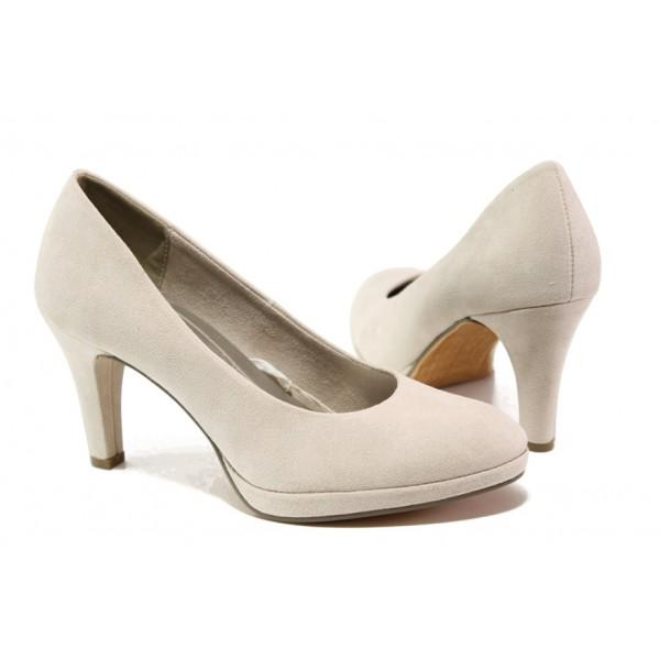 Анатомични дамски велурени обувки Marco Tozzi 2-22404-22 бежов | Немски обувки на ток | MES.BG