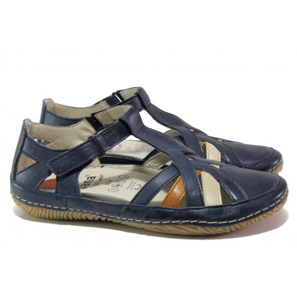 Анатомични дамски обувки от естествена кожа Jana 8-28130-22H син | Равни немски обувки | MES.BG