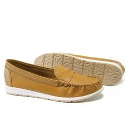 Анатомични дамски мокасини от естествена кожа Marco Tozzi 2-24601-32 горчица | Немски равни обувки | MES.BG