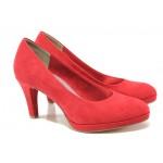 Анатомични дамски велурени обувки Marco Tozzi 2-22404-22 червен | Немски обувки на ток | MES.BG