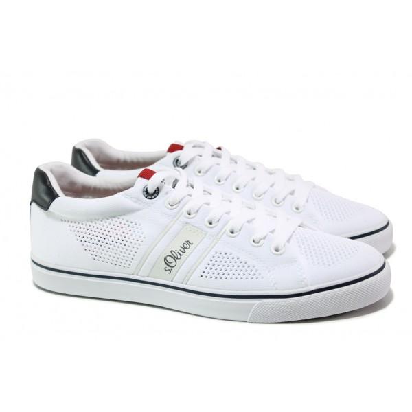 Летни спортни обувки S.Oliver 5-13638-22 бял | Мъжки немски обувки с перфорация | MES.BG