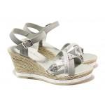 Дамски сандали от естествена кожа Marco Tozzi 2-28346-22 сив | Немски сандали на платформа | MES.BG
