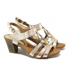 Дамски сандали от естествена кожа Caprice 9-28308-22G злато | Немски сандали на ток | MES.BG