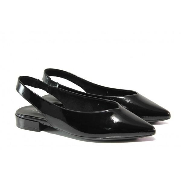 "Дамски обувки с ""мемори"" пяна S.Oliver 5-29400-22 черен лак | Равни немски обувки | MES.BG"