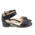 Дамски сандали от естествена кожа Caprice 9-28212-22 т.син | Немски сандали на ток | MES.BG