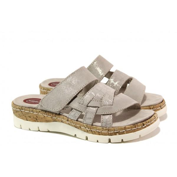 Дамски чехли от естествен набук Jana 8-27400-22 таупе RELAX | Немски чехли и сандали | MES.BG