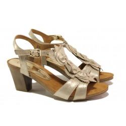 Дамски сандали от естествена кожа Caprice 9-28306-22 злато | Немски сандали на ток | MES.BG