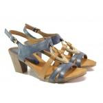 Дамски сандали от естествена кожа Caprice 9-28308-22G т.син-кафяв | Немски сандали на ток | MES.BG