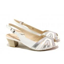Дамски сандали от естествена кожа Caprice 9-28206-22H бял-сребро | Немски сандали на ток | MES.BG