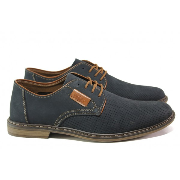 Мъжки обувки от естествен набук Rieker 13439-14 т.син ANTISTRESS | Мъжки немски обувки | MES.BG