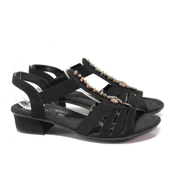 Дамски сандали на комфортно ходило Rieker V6206-00 черен ANTISTRESS | Немски сандали на ток | MES.BG