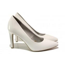 Елегантни лачени обувки Marco Tozzi 2-22415-32 бял лак | Немски обувки на ток | MES.BG
