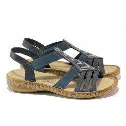 Комфортни дамски сандали Rieker 62821-14 син ANTISTRESS | Немски равни сандали | MES.BG