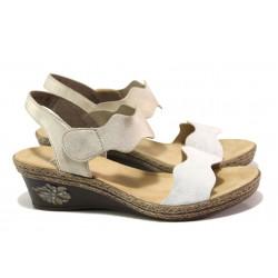 Дамски сандали на комфортно ходило Rieker V2402-80 бял-бежов ANTISTRESS | Немски сандали на платформа | MES.BG