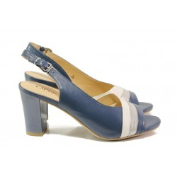 Дамски сандали от естествена кожа Caprice 9-28314-22G т.син | Немски сандали на ток | MES.BG