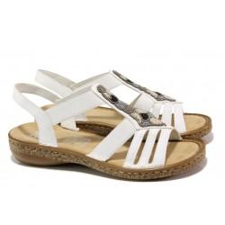 Дамски сандали на комфортно ходило Rieker 628G5-80 бял ANTISTRESS | Немски равни сандали | MES.BG