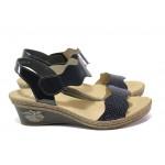 Дамски сандали на комфортно ходило Rieker V2402-14 син ANTISTRESS | Немски сандали на платформа | MES.BG