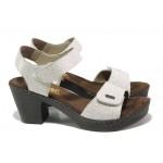 Дамски сандали от естествена кожа Rieker 66754-80 бял ANTISTRESS | Немски сандали на ток | MES.BG