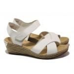 Дамски сандали от естествена кожа Rieker 62443-80 бял ANTISTRESS | Немски сандали на платформа | MES.BG