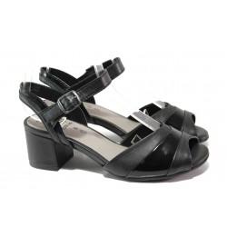 Анатомични дамски сандали от естествена кожа Jana 8-28300-22 черен | Немски сандали на ток | MES.BG