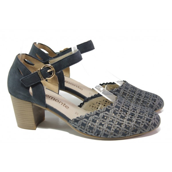 Дамски обувки от естествена кожа Remonte D0825-14 т.син | Немски обувки на ток | MES.BG