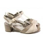 Дамски сандали от естествена кожа Jana 8-28300-22 таупе | Немски сандали на ток | MES.BG