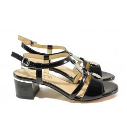 Дамски сандали от естествена кожа-лак Caprice 9-28211-22G черен лак | Немски сандали на ток | MES.BG