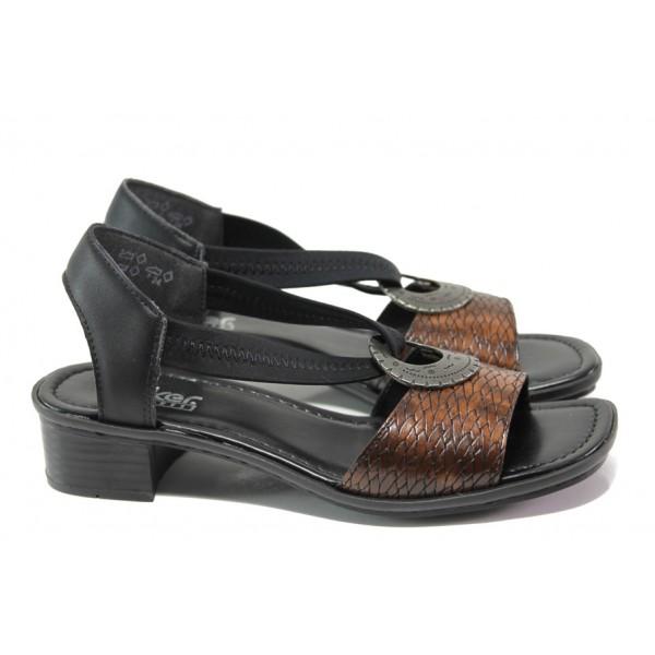 Комфортни дамски сандали Rieker 62662-25 кафяв ANTISTRESS | Немски сандали на ток | MES.BG
