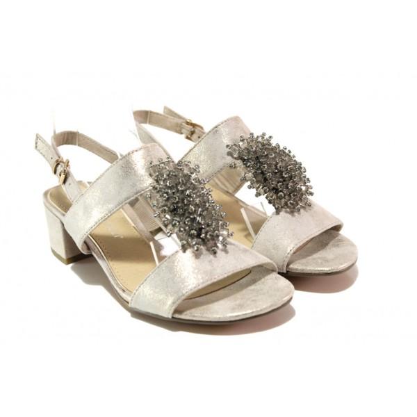 Комфортни велурени сандали Marco Tozzi 2-28204-22 бежов металик | Немски сандали на ток | MES.BG