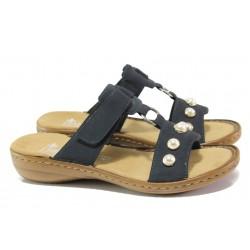 Дамски чехли с велкро лепенка Rieker 608P1-14 т.син ANTISTRESS | Немски чехли и сандали | MES.BG