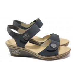 Дамски сандали от естествена кожа Rieker V24B9-14 т.син ANTISTRESS | Немски сандали на платформа | MES.BG