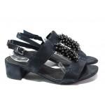 Комфортни дамски сандали Marco Tozzi 2-28204-22 син металик | Немски сандали на ток | MES.BG