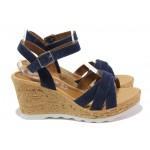Дамски сандали от естествен велур S.Oliver 5-28301-22 син | Немски сандали на платформа | MES.BG